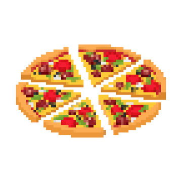 Slice of pizza pixel art. Fast food 8bit. Video game Old school digital graphics