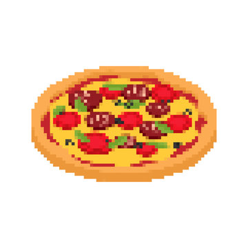 Pizza pixel art. Fast food 8bit. Video game Old school digital graphics