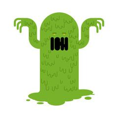 Snot monster. green mucous Mucus character. Vector illustration