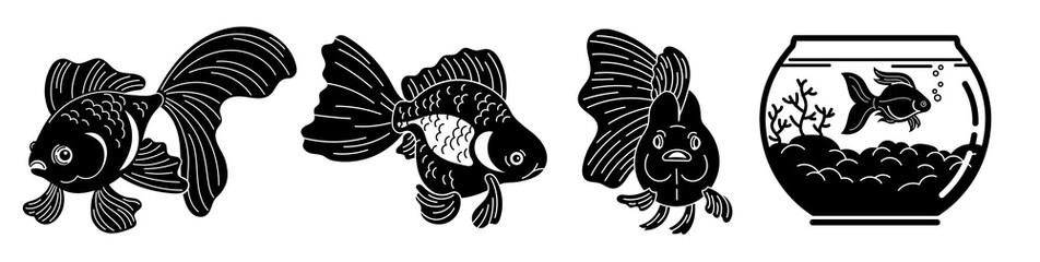 Goldfish icons set. Simple set of goldfish vector icons for web design on white background