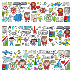 Vector set of learning English language, children's drawing icons in doodle style. Painted, colorful, on a sheet of checkered paper on a white background.