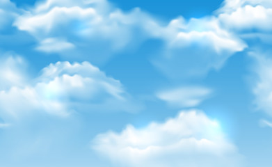 Vector realistic vibrant blue sky with fluffy white clouds seamless banner