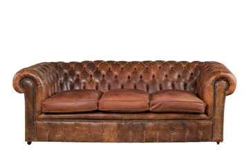 Brown leather chesterfield sofa couch original