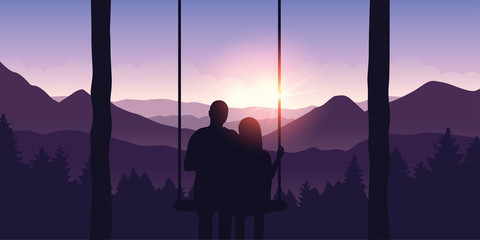 couple in love on a swing enjoys the view of the mountains at sunrise vector illustration EPS10