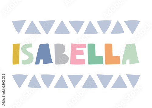 Isabella Playful Typographic Poster In Scandi Style Bright And