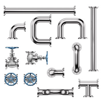 Industrial Pipes and Valves isolated on White Background. 3D illustration