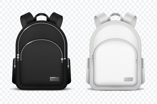 School backpack. Black and white rucksack. Front view travel bag. 3d vector mockup isolated. Illustration of school backpack, bag and schoolbag
