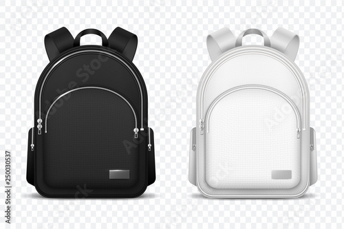 School backpack  Black and white rucksack  Front view travel