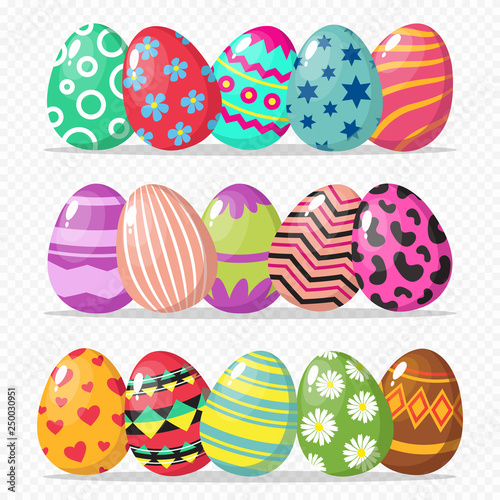 Coloring easter eggs vector isolated on transparent ...