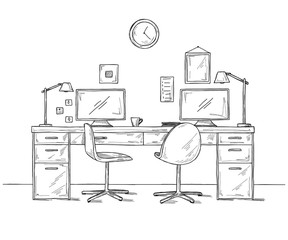 Open Space office. Workplaces outdoors. Tables, chairs. Vector illustration