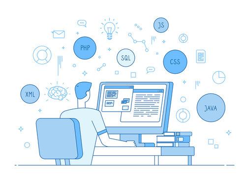 Programmer coding website. Coder web designer works on javascript, php code programming language. Software development vector concept. Software coder type java app, programmer at computer illustration