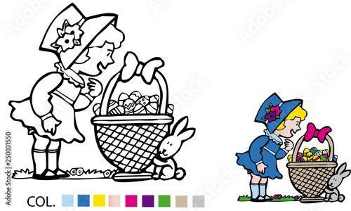 Niña Con Cesta De Huevos De Pascua Para Colorear Stock Image And