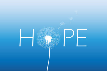 hope typography with dandelion on blue sky background vector illustration EPS10 Wall mural