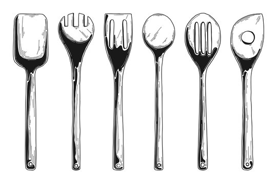 Kitchen set of different wooden spoons. Vector