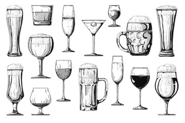Big set of different alcoholic beverages. Vector.