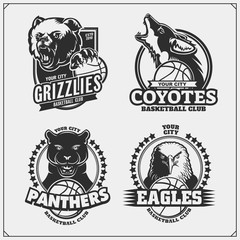 Basketball badges, labels and design elements. Sport club emblems with grizzly bear, panther, coyote and eagle. Print design for t-shirts.