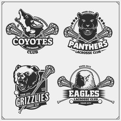 Set of lacrosse badges, labels and design elements. Sport club emblems with grizzly bear, panther, coyote and eagle. Print design for t-shirts.