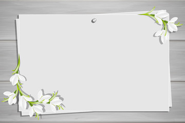Relief board with photo and place for inscription. Template for the inscription with snowdrop flowers. Spring frame. Inspiration board. Mockup with blooming flowers