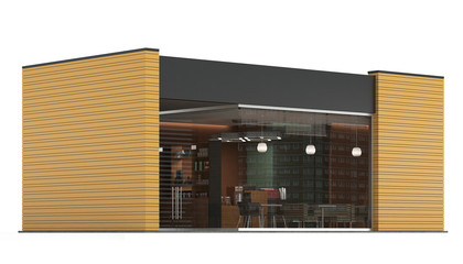 3d Rendering of a Coffee shop on white background.