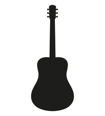 Black acoustic guitar shape. Flat icon. Vector illustration.