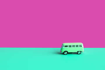 Summer concepts with vintage car on colorful