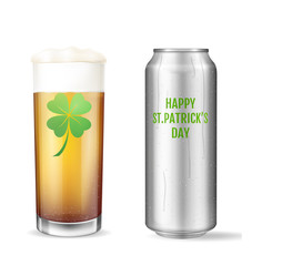 St. Patricks Day Concept. Realistic beer set.