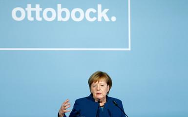 German Chancellor Merkel speaks at the 100-years anniversary celebration of prosthesis maker Ottobock SE in Duderstadt