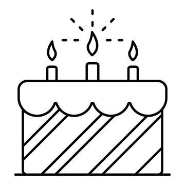 Cream birthday cake icon. Outline cream birthday cake vector icon for web design isolated on white background