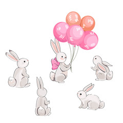 Cute vector hares and pink balloons