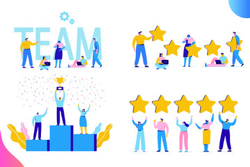 Flat Business People vector set. Team Work, Partnership, Leadership Concept. Vector illustration in modern flat style.