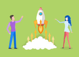 Man and woman working in teamwork vector, startup of business. Businessman and businesswoman with rocket, clouds and arrows going up, company project