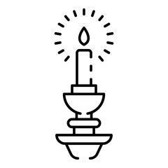 Burning candle icon. Outline burning candle vector icon for web design isolated on white background