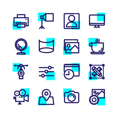 Photography studio and equipment icons