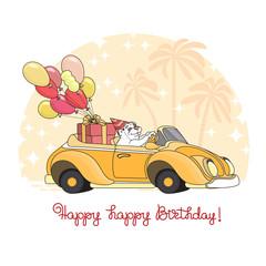 Happy Birthday. Cartoon bear with balloons in toy car. Vector.