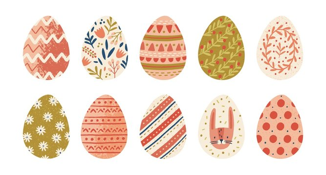 Collection of decorated Easter eggs isolated on white background. Bundle of symbols of religious holiday covered with different ornaments - flowers, stripes, dots. Seasonal flat vector illustration.