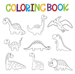 Funny cartoon dinosaurs collection. Coloring book
