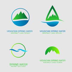 Mountain spring water logos set.