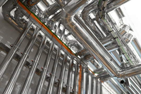 System of aluminum pipes at the food industry plant