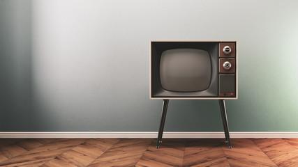 Retro old tv on background 3D illustration