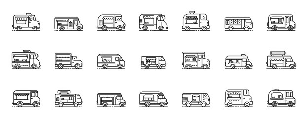 Food truck icons set. Outline set of food truck vector icons for web design isolated on white background