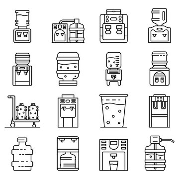 Cooler water icons set. Outline set of cooler water vector icons for web design isolated on white background