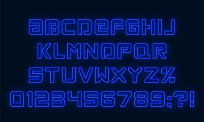 Futuristic neon font. Blue alphabet with numbers on dark background. Vector illustration.