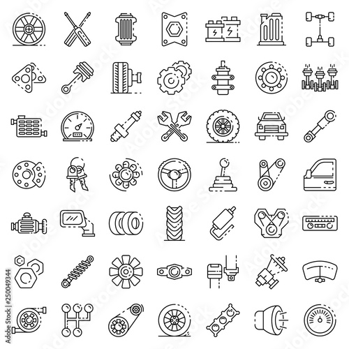 Car Parts Icons Set Outline Set Of Car Parts Vector Icons For Web