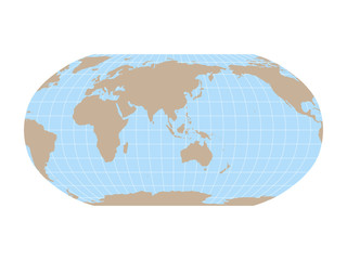 Wall Mural - World Map in Robinson Projection with meridians and parallels grid. Asia and Australia centered. Brown land and blue sea. Vector illustration