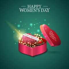Greeting green card for women's day with gift in form of heart and gift in the shape of a heart