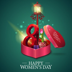 Greeting green card for women's day with gift in form of heart and tulip in a bucket under a lantern