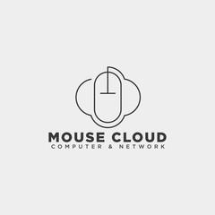 cloud mouse logo template vector illustration icon element