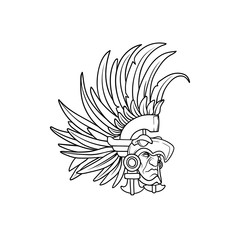 Amazing outline of the aztec elite warrior wearing an eagle helmet with long feathers