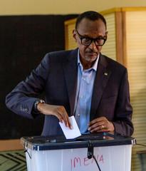 Rwandan President Paul Kagame casts his vote in Kigali