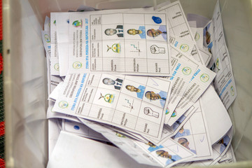 Casted votes are seen inside a box before counting at a polling centre in Kigali